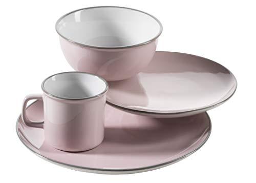 Mäser Maila – Vajilla de cerámica, diseño vintage, piedra, Juego único de color rosa, Single-Set