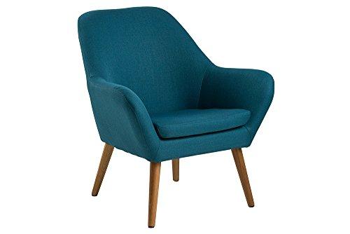 lifestyle4living Loungestuhl in Petrol mit Bezug aus Webstoff   Stuhl hat Füße aus Echtholz