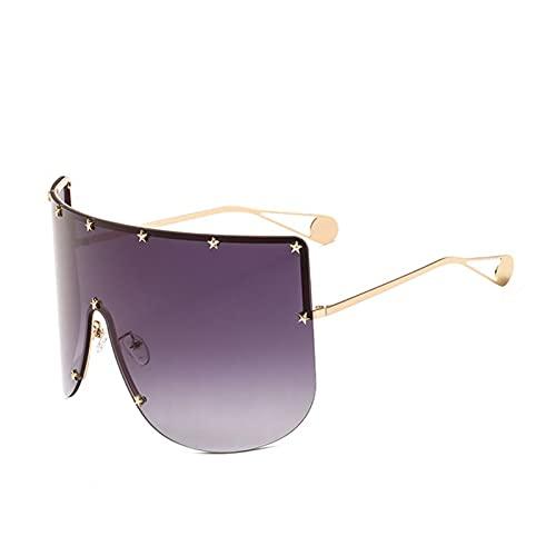 2021 STR Star SCRANY SQURÍA Mujeres DE Mujeres DE Mujer DE Mujer DE Mujer DE Otra Pieza Mascarilla Gafas De Sol para Femenino Shield Shades Goggle UV400 (Lenses Color : Gold Grey)