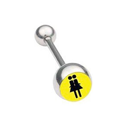 (Lesbian Double Girl Symbol Yellow Tongue Ring) - Gay and Lesbian Pride Body Jewelry - LGBT Tongue Rings. LGBT Pride Mouth Jewelry - Gay and Lesbian 316 steel barbell ring