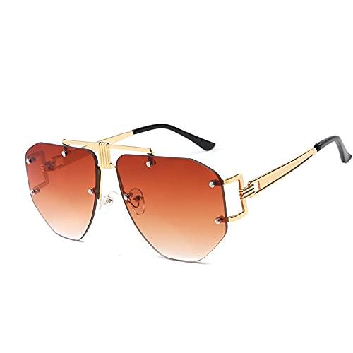AMFG Gafas De Sol Sin Montura Las Gafas De Marco Irregulares De Las Mujeres (Color : E)