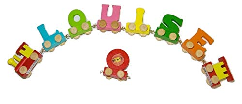 Buchstabenzug Bunt Namens-Set 6 Buchstaben Namen (kostenfreie Loc, Waggon & Fotozug) | Fun World Toys® Buchstaben Zug Holz Name