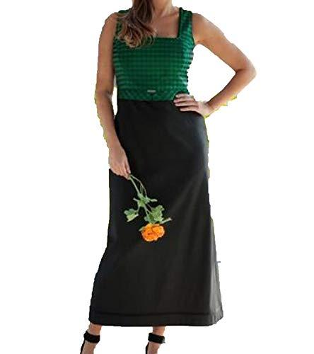 Love Nature Kleid klassisches Damen Trachten-Kleid ärmellos Dirndl Freizeit-Kleid Grün/Schwarz, Größe:44