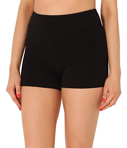Merry Style Damen Shorts Radlerhose Unterhose Hotpants kurze Hose Boxershorts aus Baumwolle MS10-359(Schwarz,L)