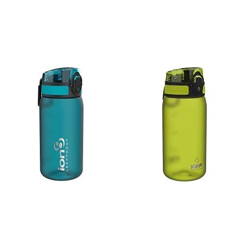 Ion8 Niños Botella Agua, Sin Fugas, Aqua, 350ml + Leak Proof BPA Free, Botella de agua, sin BPS, a pueba de fugas, Verde (Frosted Green), 350 ml