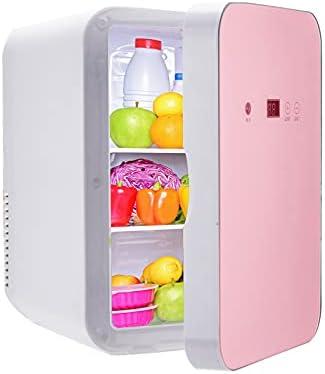 MATHOWAL Nevera Mini 8L, Nevera Pequeña Portátil, Bajo Consumo Mini Refrigerador Mini-frigorífico para Automóvil Doméstico, Temperatura de Pantalla Digital Ajustable (Oro Rosa)