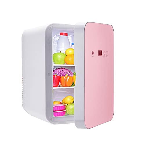MATHOWAL Mini Gefrierschrank 8L, Exquisit Mini Kühlschrank Kühl-Gefrier-Kombination Beauty Kühlschrank Tragbar für Reisen, Hautpflege, Temperatur der Digitalanzeige Einstellbar (Roségold)