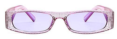 Moda Gafas De Sol Cuadradas De Diamante para Mujer, Gafas De Sol De Cristal Pequeñas para Mujer, Gafas De Sol con Espejo para Mujer, Gafas De Sol Uv400 Clearpurple