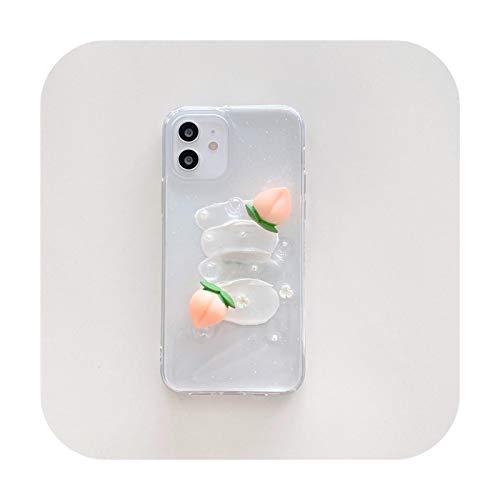 3D Fruit Peach Funda flexible de silicona para iPhone 12 11 Pro Max X XS XR 7 8Plus SE20 Lindo Clear Stress Reliever suave Cover-style1-para iPhone SE2020