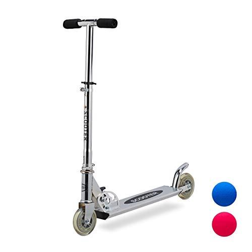 Relaxdays Scooter voor kinderen, inklapbare step, met rem, aluminium, in hoogte verstelbaar tot 77 cm, 2 rollen 95 mm, zilver