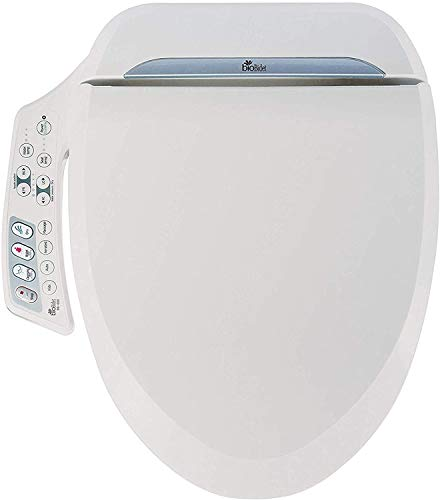 Bio Bidet Toilet, Elongated White. Ultimate BB-600 Advanced Bidet Easy DIY Installation, Luxury Features From Side Panel, Adjustable Heated Seat and Water. Dual Nozzle Has Posterior and Feminine