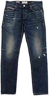 [ケアレーベル] イタリア製 FW19 Bodies214 Glam248 11oz 1/4 twill 3/1 ダメージ加工 ボタンフライ ストレッチ テーパード デニム インディゴブルー パンツ W32 ダークブルー 901003t02
