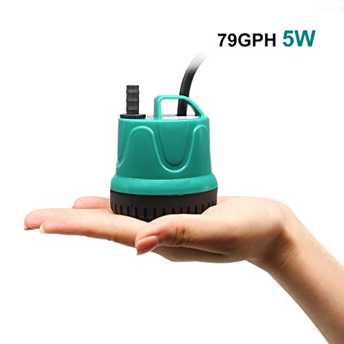 UPETTOOLS Submersible Water Pump, Ultra Silence Circulation Multifunctional Water Pump with Handle for Pond, Aquarium, Hydroponics, Fish Tank Fountain with 4.6ft (1.4M) Power Cord(66GPH,5W)
