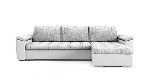 PM Ecksofa Schlaffunktion Bettfunktion Couch L-Form Polstergarnitur Wohnlandschaft Polstersofa mit Ottomane Couchgranitur - NICO-Links (Silber + weißes Öko-Leder, Rechts)