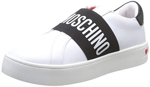 Love Moschino Damen Scarpad.cassetta35 VIT.Bianco+Nero Gymnastikschuhe, Weiß (White Calf 10a), 40 EU