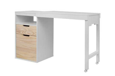 Memomad Ausziehbarer Schreibtisch UP - Weiß und Naturholz