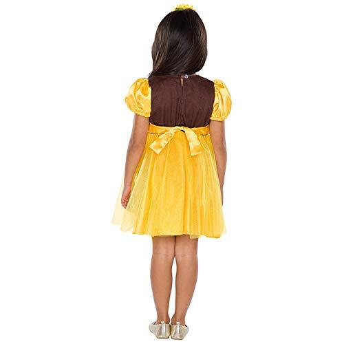 Maravilloso Disfraz Infantil de Girasol - Amarillo-Marrn 111 - 116 cm, 4 - 5 aos - Disfraz de Carnaval Flores de Verano - Insuperable para Festival Infantil y Fiestas temticas