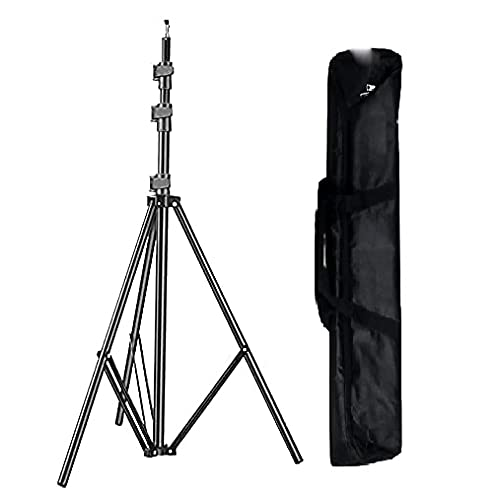 HIFFIN® 9 feet/260cm Aluminum Alloy Photo Studio Light Stands with Carry Bag for Video, Portrait and Photography Lighting Ring Light, Reflectors, Photo & Video Studio Tiktok YouTube Shooting(9 Ft Stand)