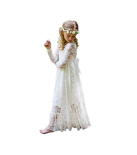 Unbekannt XEJ Mädchen Prinzessin Kleid Spitzen Blumenmädchen Kleid Festkleid Lange Ärmel,Elfenbeinweiß,10-11 Jahre