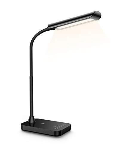 LED デスクライト TaoTronics 卓上スタンド 目に優しい 電気スタンド USBポート付け タッチセンサー 明るさ 386ルーメン テーブルランプ 7段階調光 5種類色温度 勉強 読書 第2世代TT-DL11 ブラック 【Amazon.co.jp 限定】