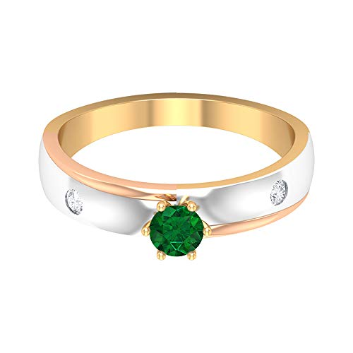 Rosec Jewels 14 quilates oro rosa redonda round-brilliant-shape H-I Green Diamond Emerald