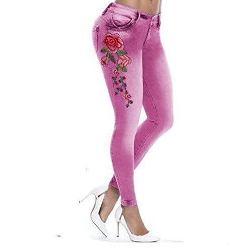 WJANYHN Jeans Collage, Pantalones LáPiz, Pies Pantalones, Bordado