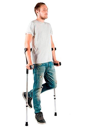 PEPE-STAMPELLE, Confezione da 2 Stampelle ortopediche regolabili per adulti, Stampelle regolabili in alluminio, Colore nero