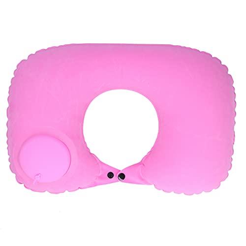 Almohada inflable, conveniente y cómoda Almohada de soporte para el cuello Cojín antifugas para el reposacabezas para avión para automóvil para oficina(C (pink))