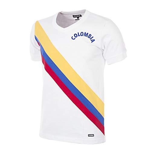 Copa Colombia 1973 - Camiseta de fútbol Retro con Cuello en V para Hombre, Hombre, Camiseta con Cuello en V, 258, Blanco, XXL
