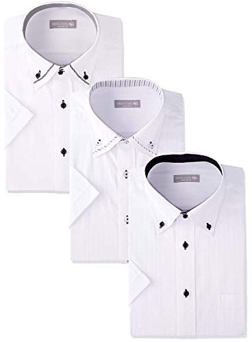 [ドレスコード101] ワイシャツ 半袖 3枚セット Yシャツ 形態安定 3枚組 セット ビジネスの定番 ボタンダウン クールビズ 夏 おしゃれ カッターシャツ メンズ 定番 半袖3枚セット 首回り41cm