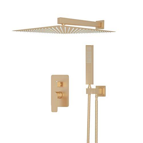 JUNSOTTOR Gebürstetes Gold Duschsystem Duscharmatur 12 Zoll Regendusche Duschset mit Kopfbrause Handbrause 2 Funktionen Messing für Badewannen