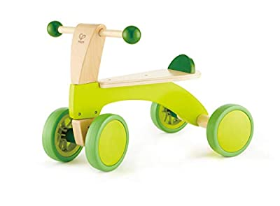 Hape Scoot Around Ride On Wood Bike | Award Winning Four Wheeled Wooden Push Balance Bike Toy for Toddlers with Rubberized Wheels, Bright Green