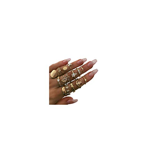 ZZ ZINFANDEL 9-16 PCS Joint Midi Knuckle Stacking Ring for Women Girls,Bohemian Crystal Gem Finger Rings Sets Fit Size 5 to 9 (B:15pcs-Gold)
