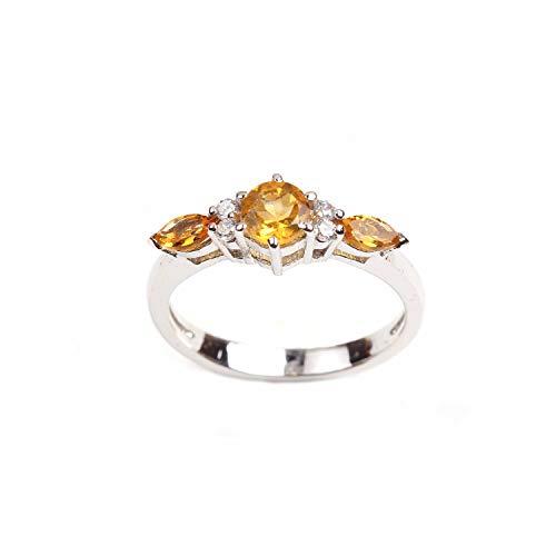 Anillo de diseñador de topacio blanco citrino amarillo de plata esterlina de calidad fina 925 tamaño 8.25 para mujeres y niñas |Anillo de plata |Anillo de piedras preciosas