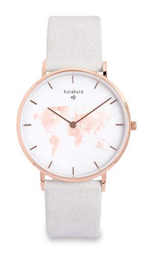 Uhr mit Weltkarte von kurakura mit Saphirglas und 5 ATM Wasserdichtigkeit und wechselbaren Armband (36 mm, rosé besi)