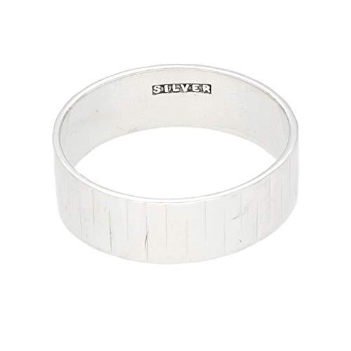 Jollys Jewellers Alianza de boda para hombre de plata de ley con patrón (tamaño N), 5,5 mm de ancho