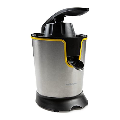 Mellerware - Exprimidor Eléctrico Profesional Juicy! 300W | Vertido Continuo | Sistema Antigoteo | 2 Filtros | 2 Conos intercambiables | Motor AC | Apto Lavavajillas | Zumos de naranjas | (Yellow)