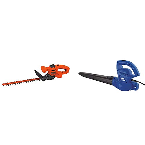 BLACK+DECKER BEHT150 Hedge Trimmer & Sun Joe SBJ597E-SJB 6-Amp 155 MPH Electric Leaf Blower, Blue
