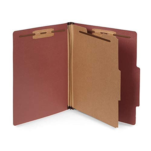 10 Letter Size Red Classification Folders - 1 Divider - 2 Inch Tyvek Expansions - Durable 2 Prongs Designed to Organize Standard Medical Files, Office Reports - Letter Size, Red Brick Color, 10 Pack