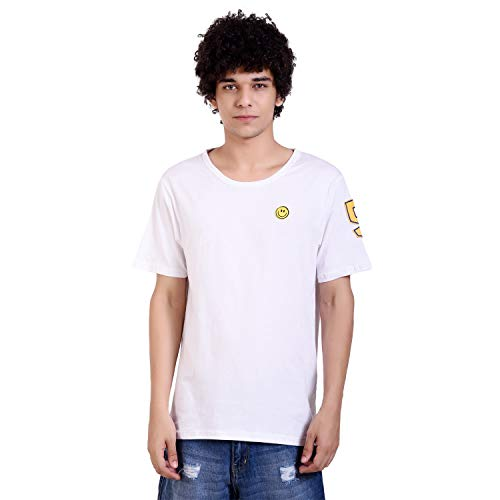 PAUSE White Solid Round Neck Slim Fit Short Sleeve Men's T-Shirt