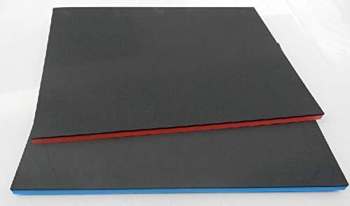 Gummifritz24de (105 €/m²) Werkzeugeinlage ca. 400 x 600 x 50 mm, Hartschaumstoff Systemeinlage Schaumeinlage für Werkzeugwagen, schwarz/blau, Industriequalität