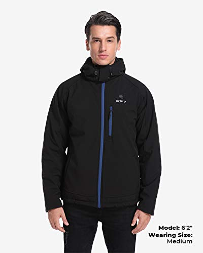ORORO Men's Soft Shell Heated Jacket with Detachable Hood and Battery Pack (Black/Blue, XL)