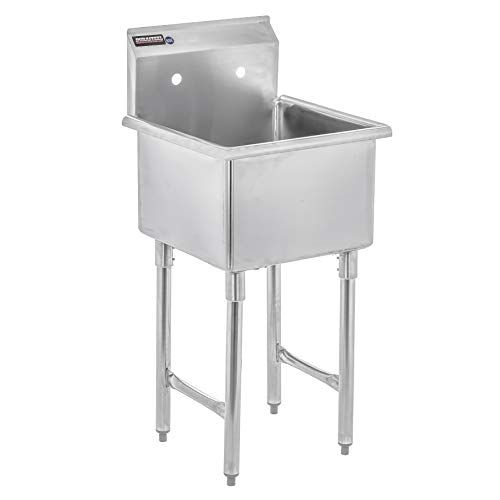 "DuraSteel Utility & Prep Sink - 1 Compartment Stainless Steel NSF Certified Easily Install - 18"" X 18"" Tub Size (Commercial, Food, Kitchen, Laundry, Backyard)"