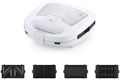 Máquina para hacer sándwiches,gofres y rosquillas 4 en 1,con control automático de temperatura,calentada uniformemente en ambos lados,platos con revestimiento antiadherente profundo,ideal para el desa