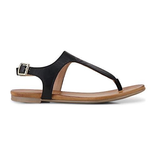 Cox Damen Zehentrenner aus Leder im modernen Look, Riemchen-Sandale in Schwarz mit Flexibler Laufsohle  Schwarz Leder 40