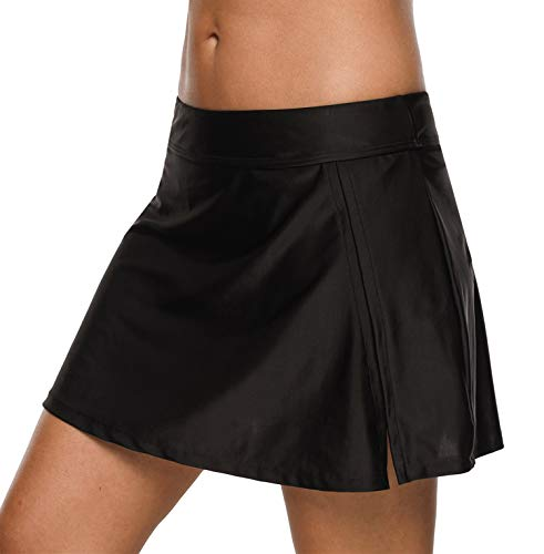 Charmo Frauen Badebekleidung Badeanzug Rock gebaut in Bikini Bottom Baderock Schwimmrock Bikini mit Hotpants, 2schwarz, M