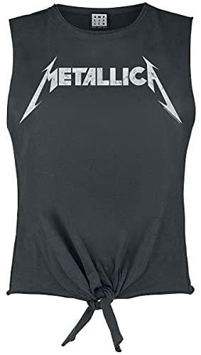 Metallica Amplified Collection - White Logo Mujer Top Gris Marengo XL, 100% algodón, Regular
