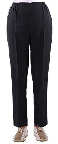FASHION YOU WANT Damen Seniorenhose Schlupfhose mit Gummibund Kurzgröße Frühjahr/Sommer Qualität ideal für pflegebedürftige Omas einfach anzuziehen und super pflegelei (46/48, schwarz)