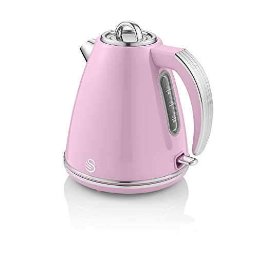 Swan Retro 1.5 Litre Jug Kettle, Pink, with 360 Degree Rotational Base, 3KW Fast Boil, Easy Pour, SK19020PN