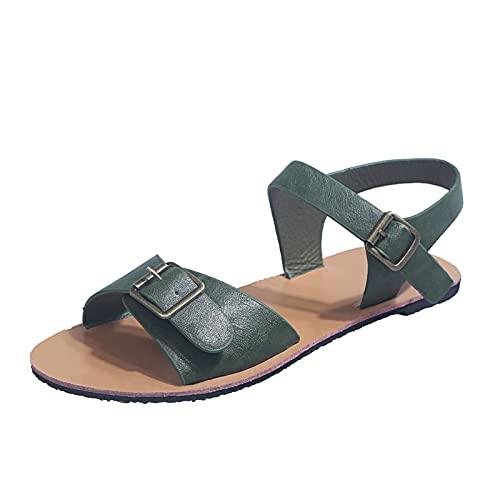 Luckycat Sandalias Planas para Mujer 2021 Moda de Verano Simple Color Puro Sandalias Informales con Hebilla Zapatos para Caminar de Moda Sandalias de Playa